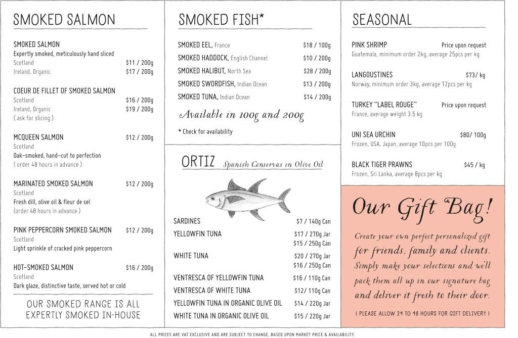 for Fish 101 menu