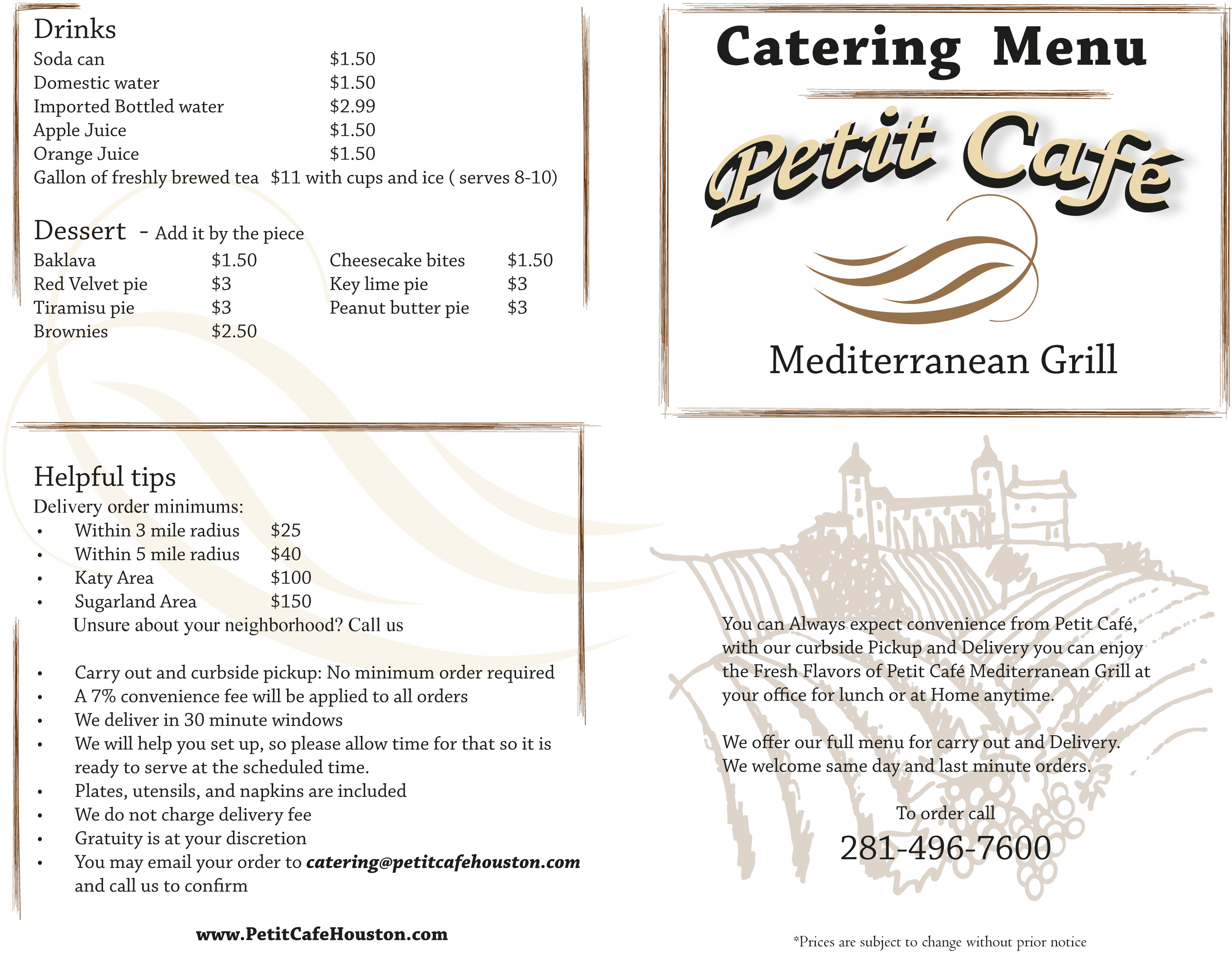 Petit Cafe Lebanon Menu